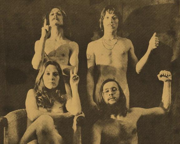 Die Berner Härdlütli-Partei 1971, mit Polo Hofer (hinten rechts).