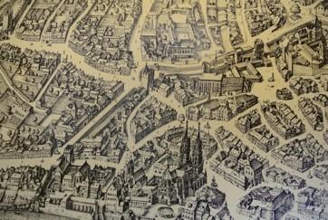 Ausschnitt Barfüsserplatz, aus dem Stadtplan von Matthäus Merian, 1615 (zu bewundern in der Brötli-Bar im Hotel Stadthof)