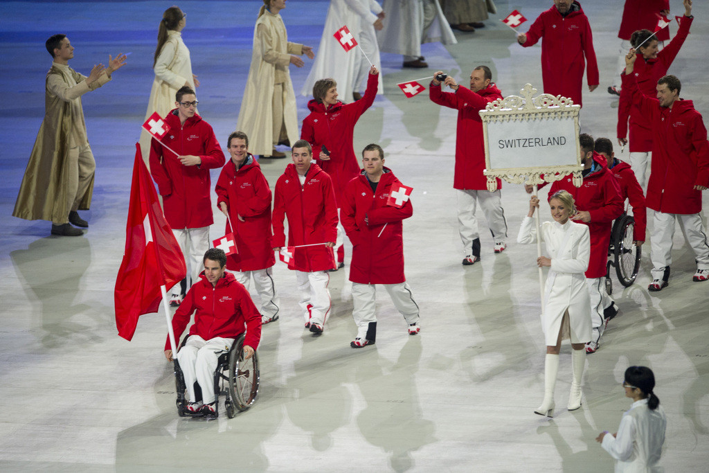 The Swiss Ski alpin Team during the opening ceremony of the Winter Paralympics 2014 Sochi in Sochi, Russia, on Friday, March