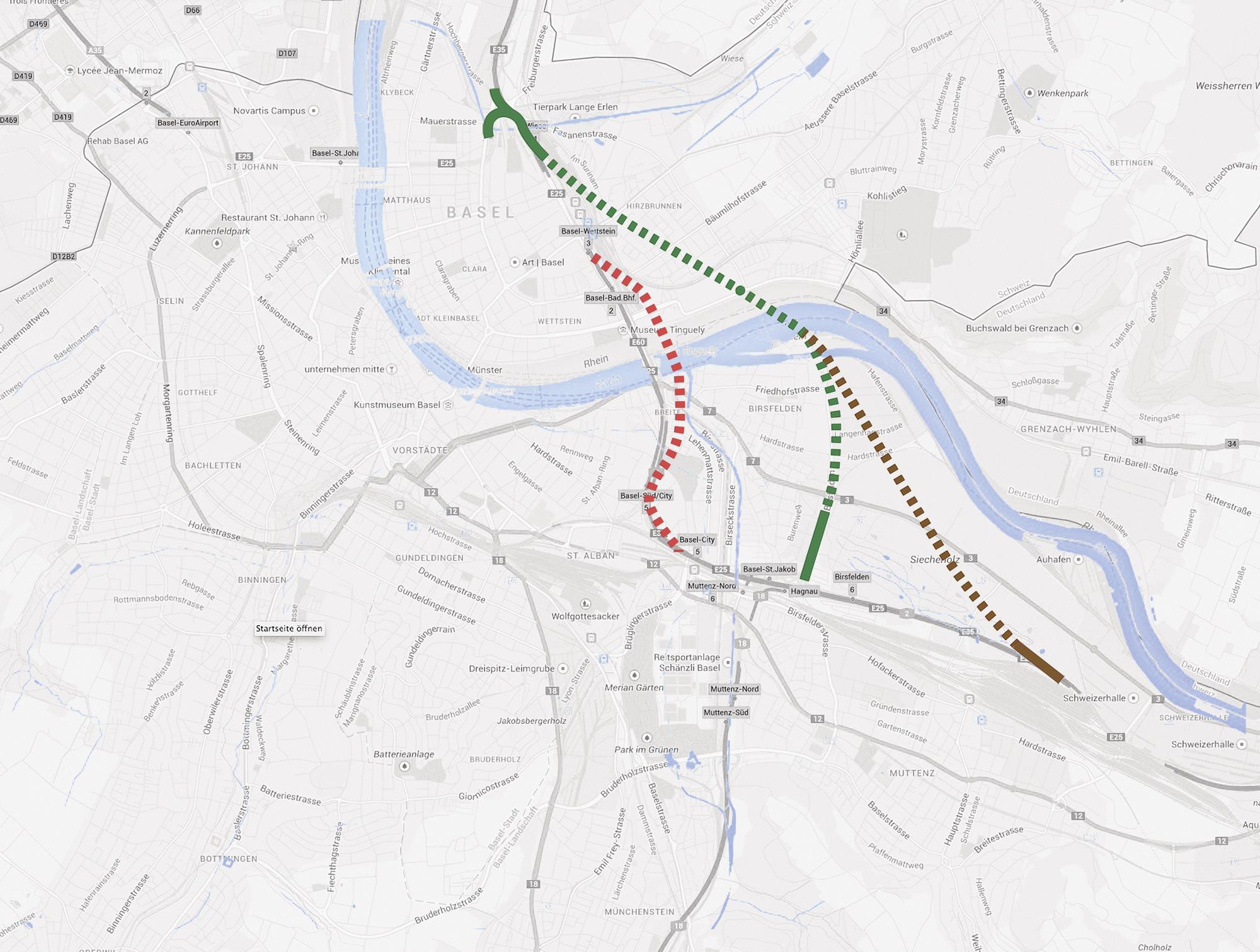 Diese drei Tunnelvarianten sind auf dem Tisch. Geprüft wird allerdings nur die rote, die von den Basler Planungsbehörden eingereicht wurden. Die grünen Routen sind wohl chancenlose Alternativvorschläge der Wirtschaftsverbände.