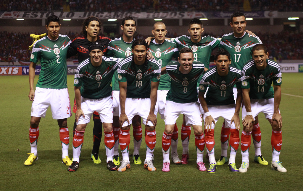 FILE- In this Oct. 15, 2013 file photo, Mexico's team poses prior to the start the 2014 World Cup qualifying soccer match between Costa Rica and Mexico, in San Jose, Costa Rica. Background from left: Hugo Ayala, Guillermo Ochoa, Rafael Marquez, Jorge Torr