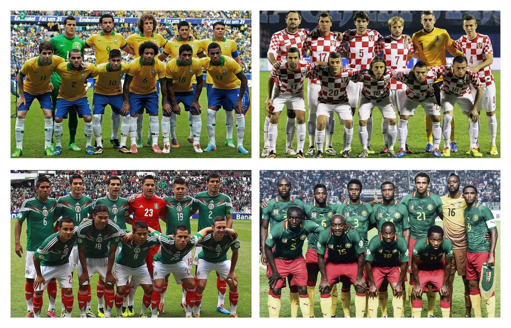 epa03979887 Combo picture that show the team photos of the teams of the A group of the 2014 FIFA World Cup Brazil: Brazil (up-L), Croatia (up-R), Mexico (down-L) and Cameroon (down-R) after the final draw of the preliminary round groups held in Costa do S