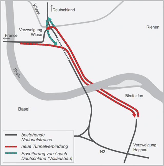 Neue Variante: Der Bund will einen Autobahntunnel unter dem Rhein bauen, der von Birsfelden zur Dreirosenbrücke führt (Karte: Bundesamt für Strassen).