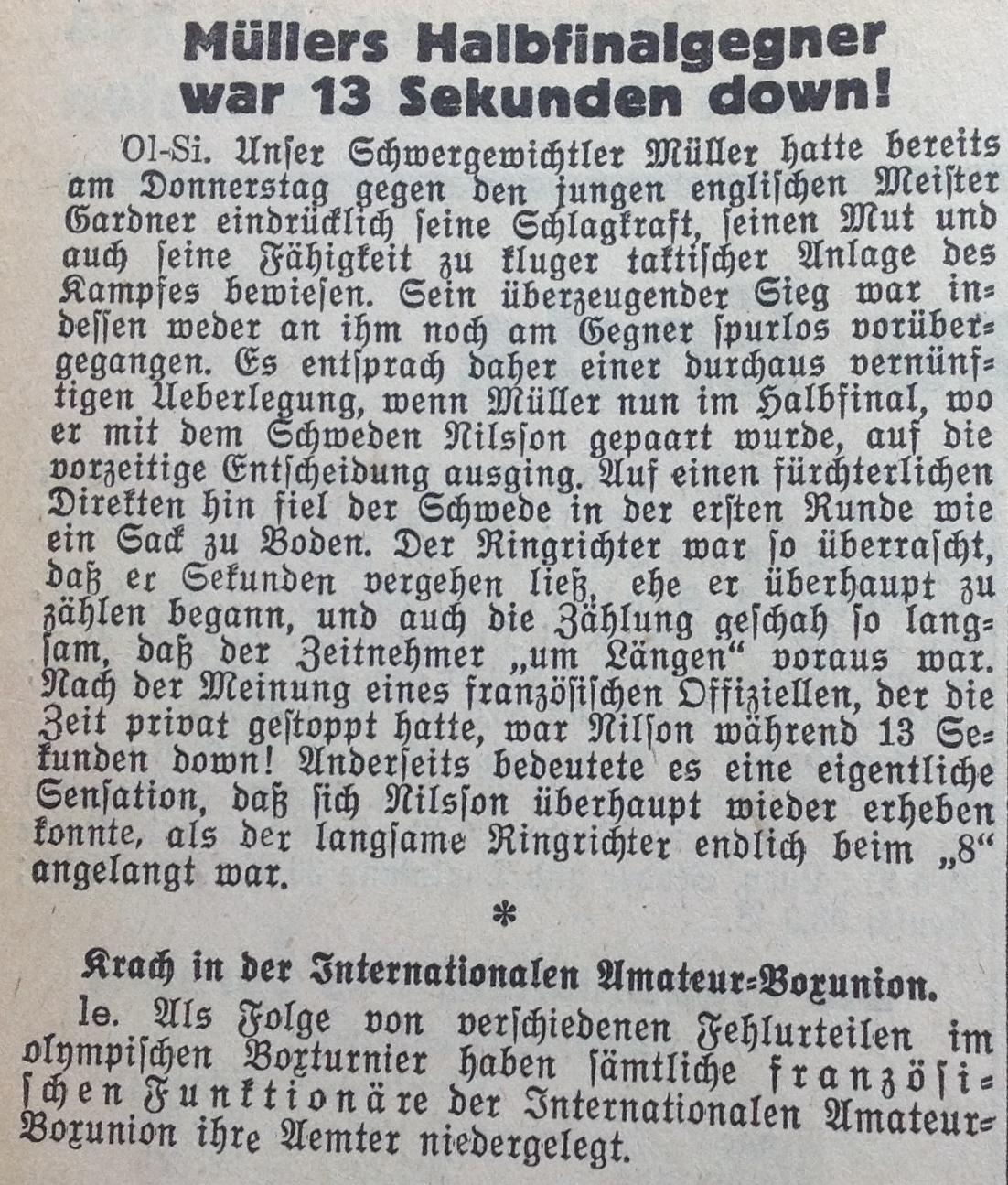 Die «Basler Nachrichten» berichten über Müllers Halbfinal an den Spielen 1948.