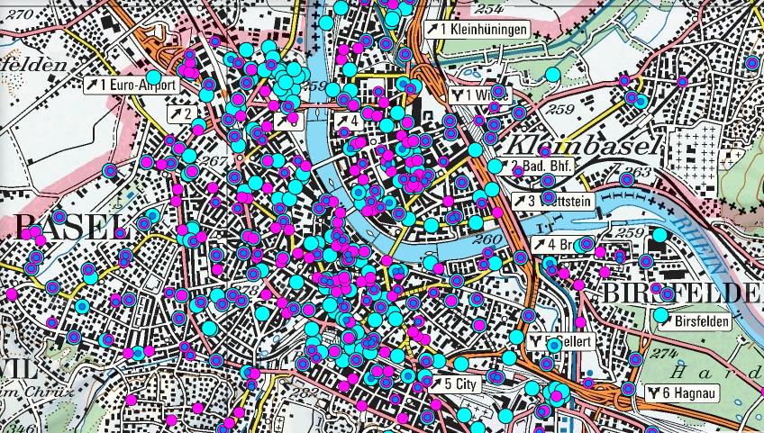 Standorte der Handy-Antennen in Basel. Die Zahl steigt, die Sendeleistung einzelner Antennen aber sinkt.
