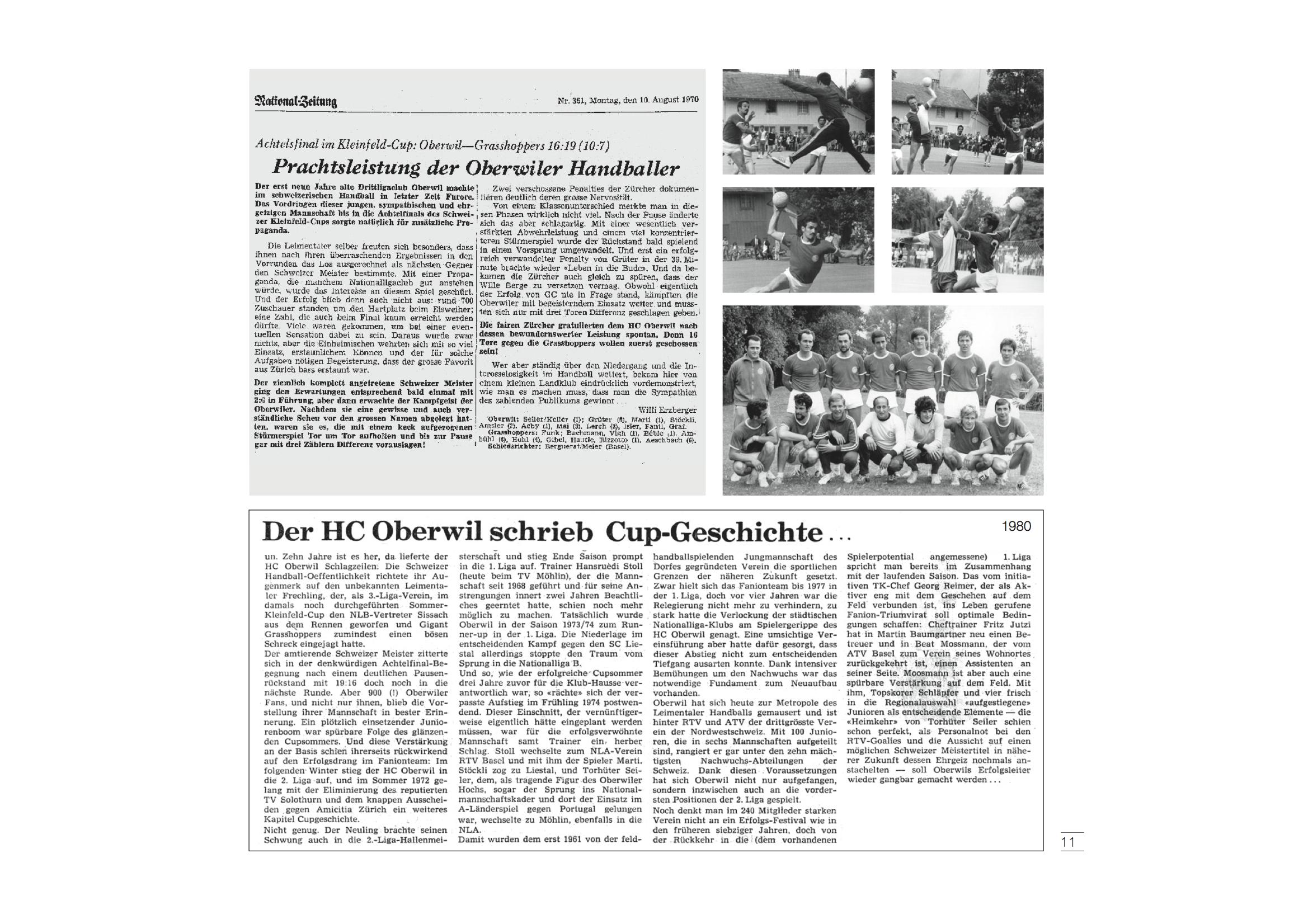 Erinnerungen an 1970: Der Cup-Schlager HC Oberwil gegen GC.