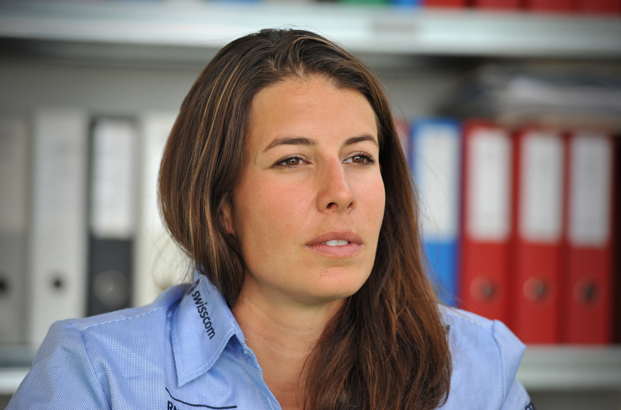 Dominique Gisin beim Interview im Sportmuseum, 2014