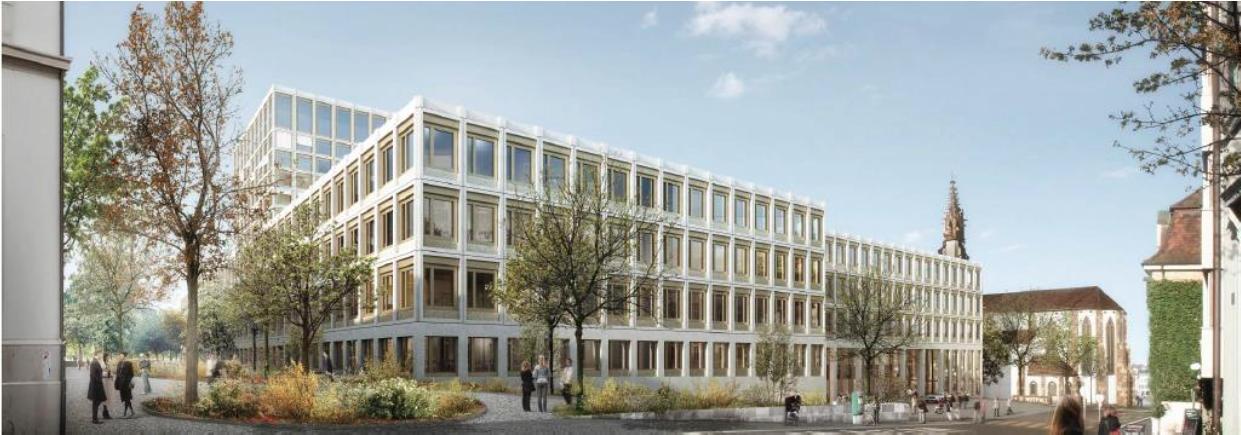 Visualisierung des Neubaus Klinikum 2 des Universitätsspitals Basel.