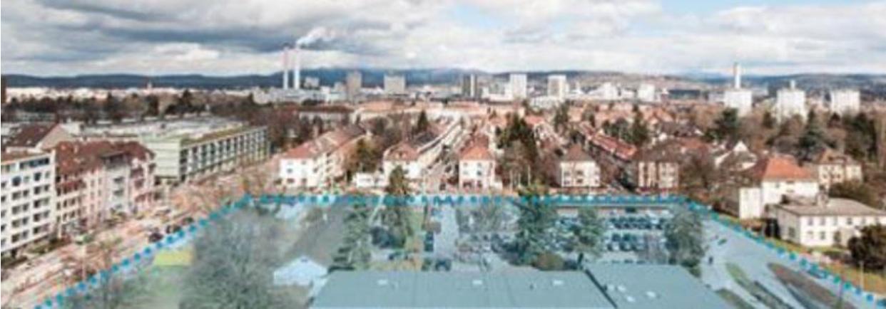 Blick auf das Gelände des Felix Platter Spitals, wo der Neubau zu stehen kommen soll.