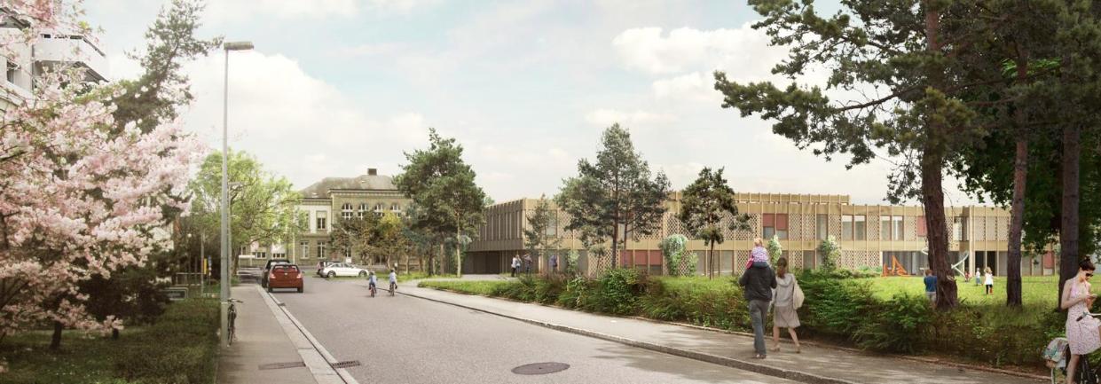 Visualisierung des Neubaus der Kinder- und Jugendpsychiatrie auf dem Gelände der Universitäten Psychiatrischen Kliniken Basel.