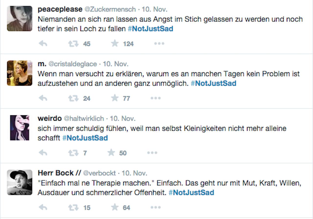 Der Twitter Hashtag #notjustsad liess viele Betroffene über ihre Depressionen schreiben.