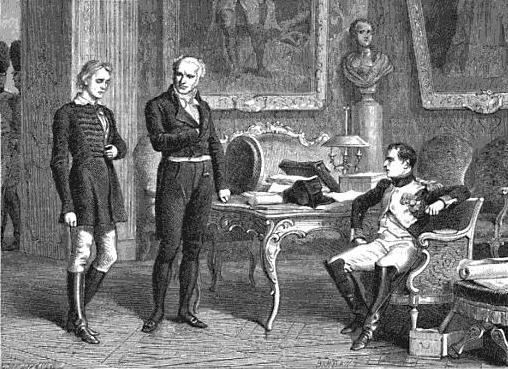 Napoléon Bonaparte befragt den glücklosen Attentäter Friedrich Staps.