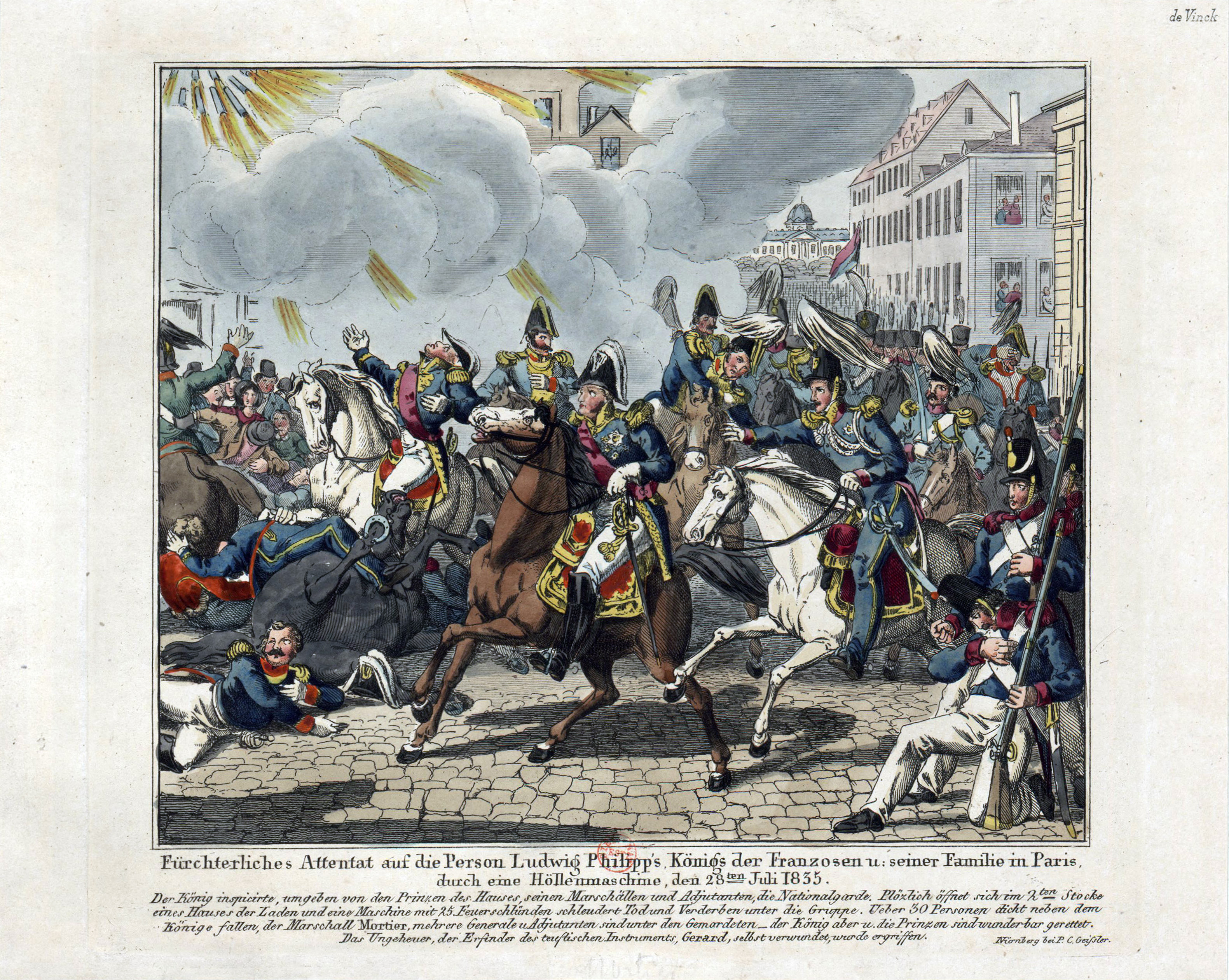 Die Explosion der Höllenmaschine, die Louis-Philippe I. im Jahr 1835 verfehlte.