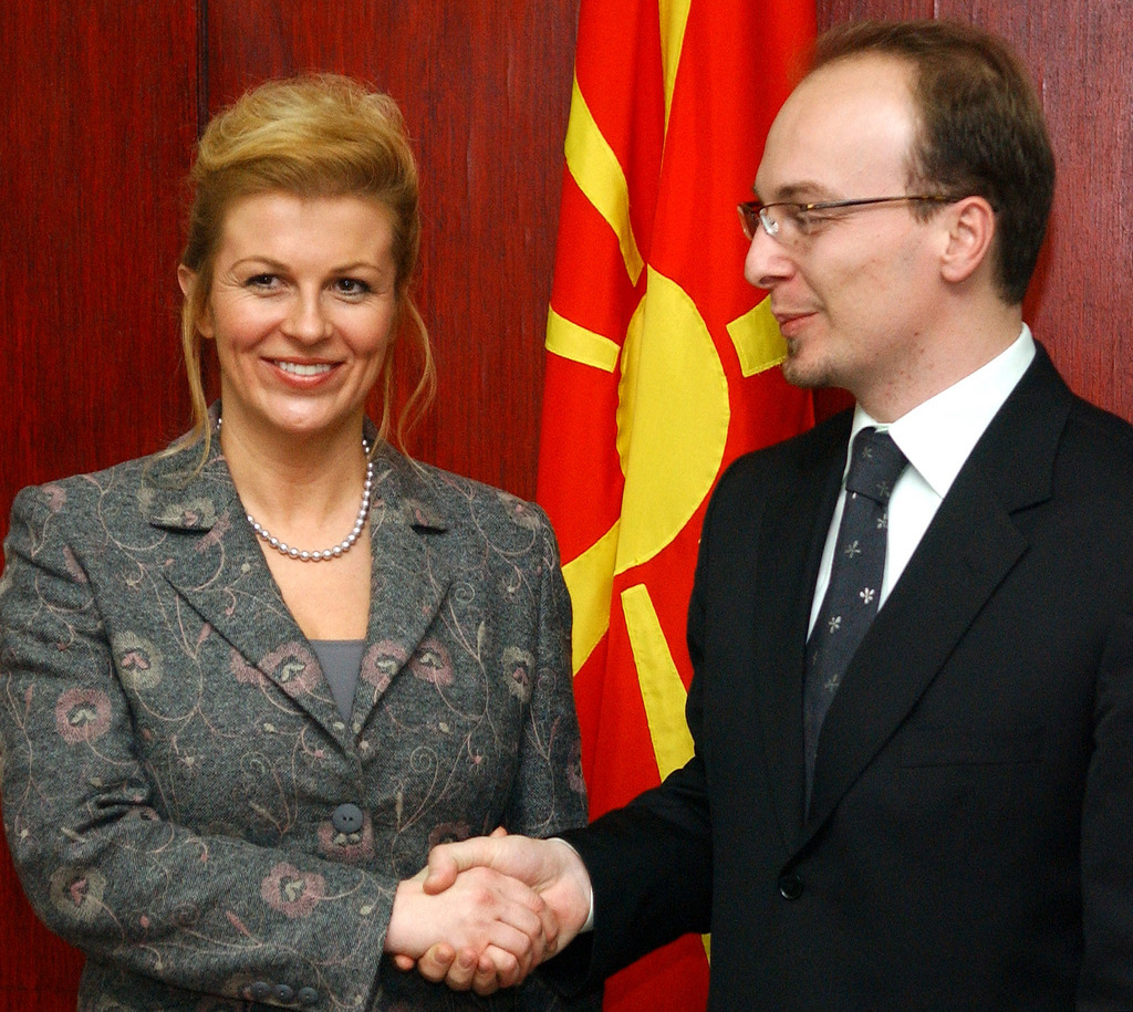 Croatia's Foreign Minister Kolinda Grabar Kitarovic, left, meets her Macedonian counterpart Antonio Milososki, right, upon her arrival in Macedonia's capital Skopje, on Tuesday, Jan. 23, 2007. During her two-day visit to Macedonia, Croatian Minister Grabar Kitarovic will meet the country's top officials. ()