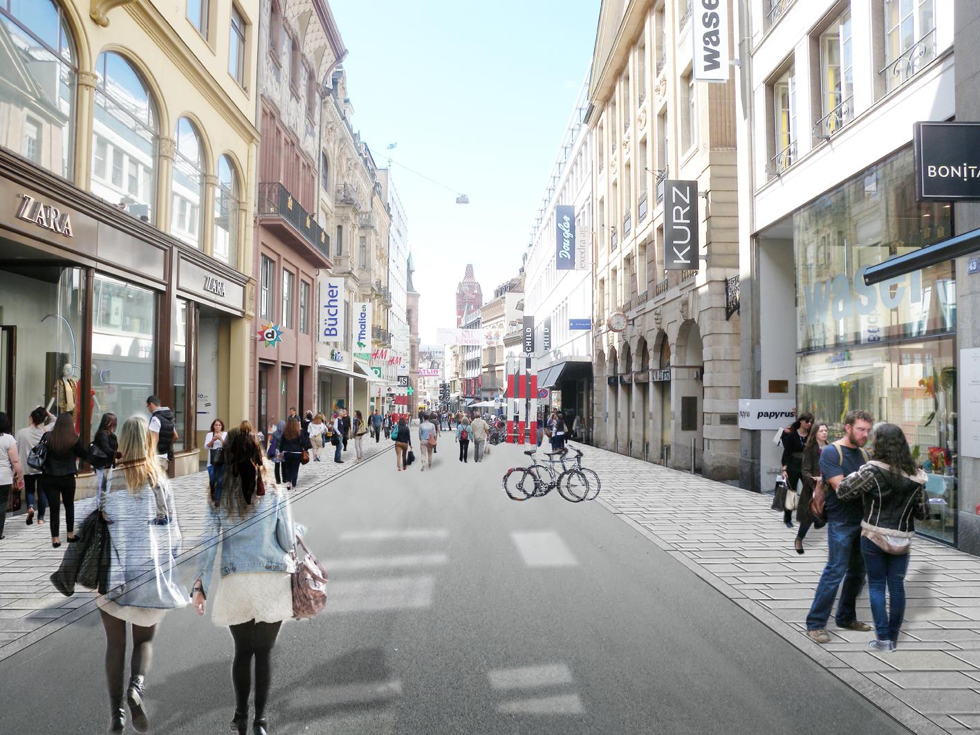 Die Freie Strasse mit einem Aspahltstreifen in der Mitte und Quarzsandsteinplatten auf den Trottoirs
