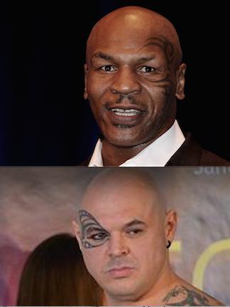 Original und Kopie. Oben alt Weltmeister Mike Tyson, unten der Ungar Zoltan Csala.