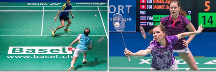 Vorreiter Swiss Open: Den Schriftzug «Basel» auf den Hallenboden gebracht (links). Rechts Ayla Huser und Sabrina Jaquet (voren), zwei Lokalmatadorinnen.