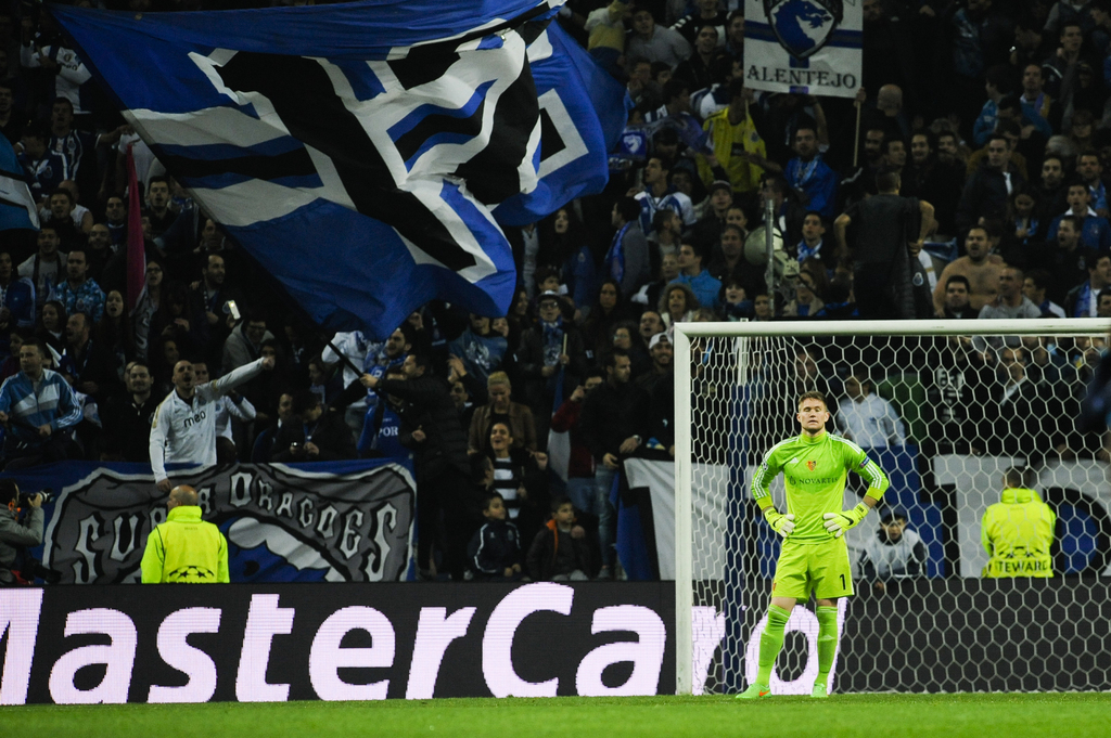 Basel's goalkeeper Tomas Vaclik reacts during the Champions League round of sixteen second leg soccer match between FC Porto and FC Basel at the at Dragao Stadium in Porto, Portugal, Tuesday, March 10, 2015. FC Porto beats the FC Basel 4-0. (AP Photo/Paulo Duarte)