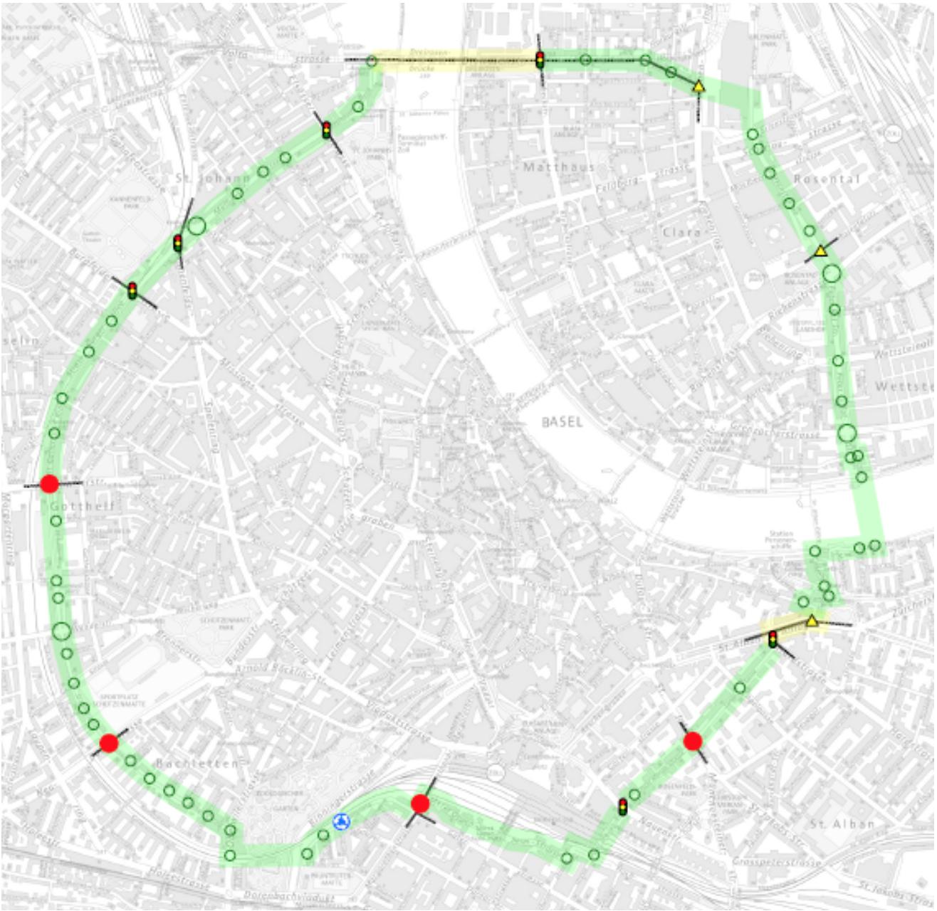Die Karte zeigt den erwünschten Verlauf des Velorings. Mit den grünen Kreisen sind geforderten Vortrittsregelungen für den Veloverkehr gekennzeichnet. Die roten Punkte deuten die Ausnahmen davon an. Und mit den Querstrichen sind die Tramachsen gekennzeichnet, die sich mit dem Veloring kreuzen.