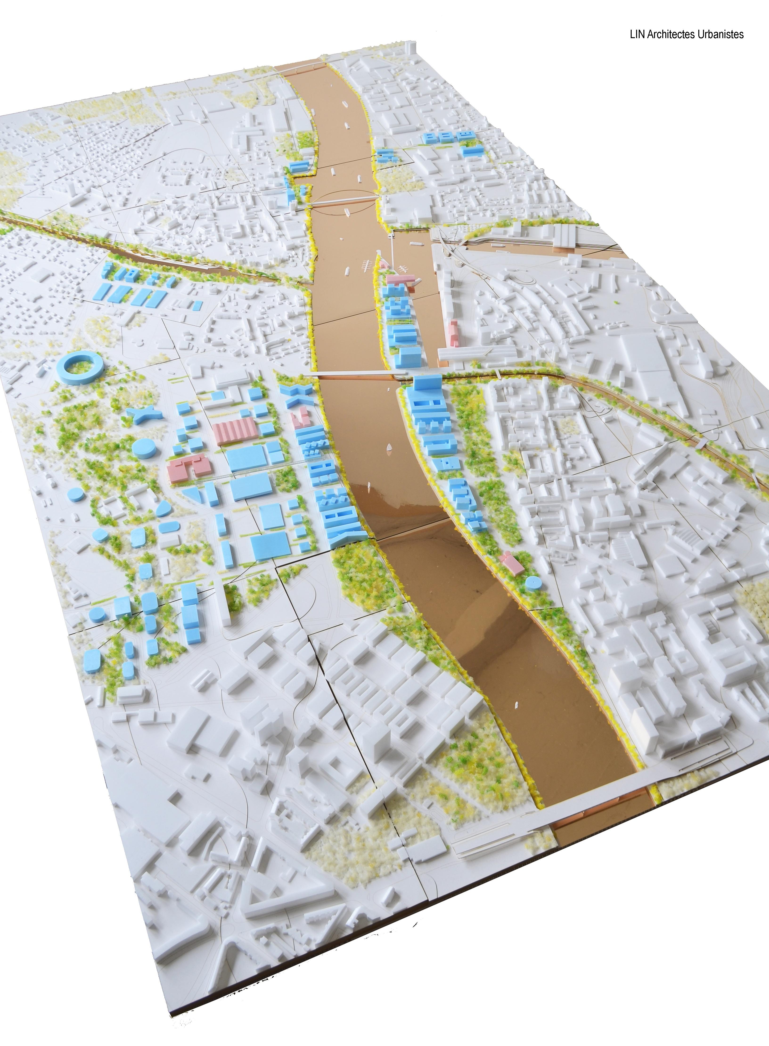 Auf dem Modell besonders gut ersichtlich: Wo heute die Gleise der Hafenbahn die Klybeckinsel vom Wohnquartier abtrennen, könnte im «Szenario Park» ein ebensolcher Park als Verbindungsstück fungieren.