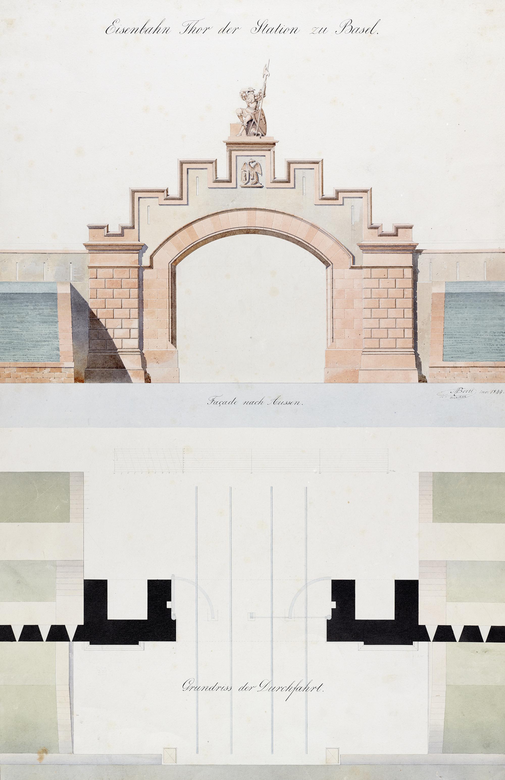 «Eisenbahn Thor der Station zu Basel» – Kolorierter Plan des Architekten Melchior Berr, 1844.
