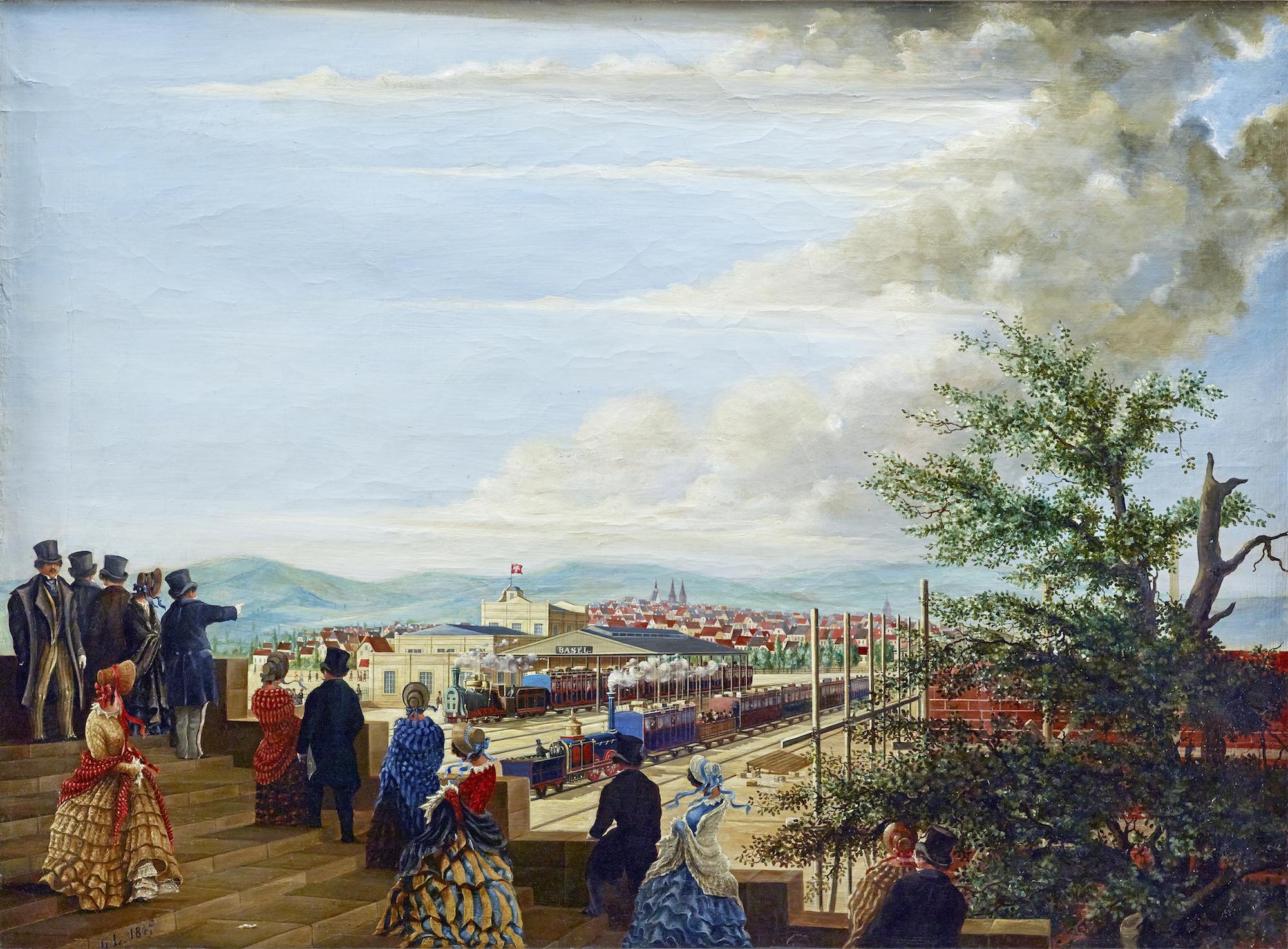 Ansicht des ersten französischen Bahnhofs in Basel, bezeichnet «G.L. 1847». Blick vom nordwestlich gelegenen, von Melchior berri entworfenen Eisenbahntor in der Stadtmauer auf die Bahnhofsanlage. In der Mode des Spädbiedermeier gkleidete Basler und Baslerinnen verfolgen den Betrieb des neuen Verkehrsmittels.