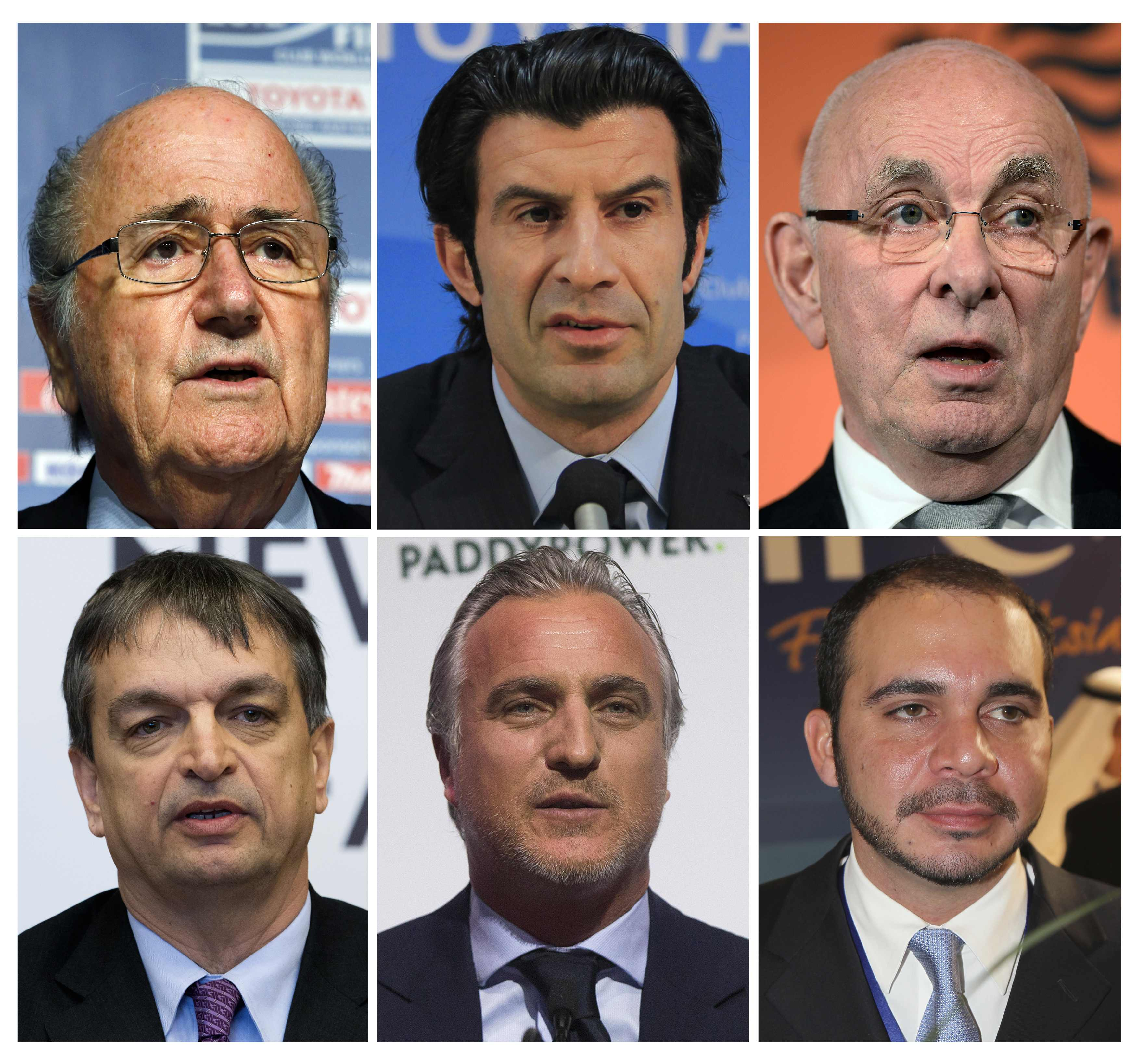 A combination of file pictures shows the candidates running for the FIFA presidency. From L-R: (top row) FIFA President Sepp Blatter, former Portuguese international soccer player Luis Figo, Dutch FA president Michael van Praag, (bottom row) former FIFA official Jerome Champagne of France, former footballer David Ginola from France and Jordan's Prince Ali bin al-Hussein. REUTERS/Staff/Files (SPORT ELECTIONS POLITICS)