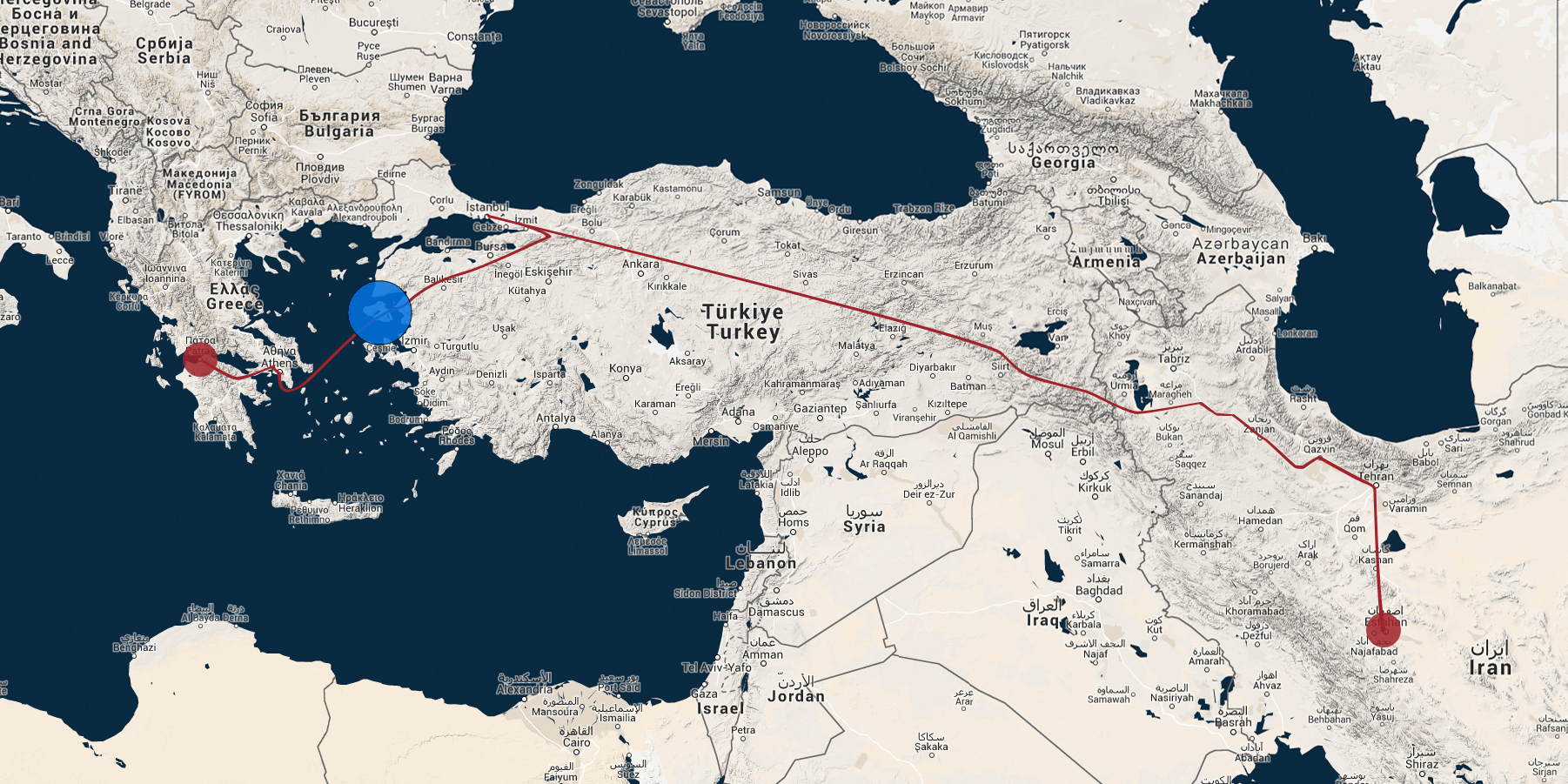 Die ungefähre Route von Javeds Flucht aus dem Iran bis nach Griechenland.