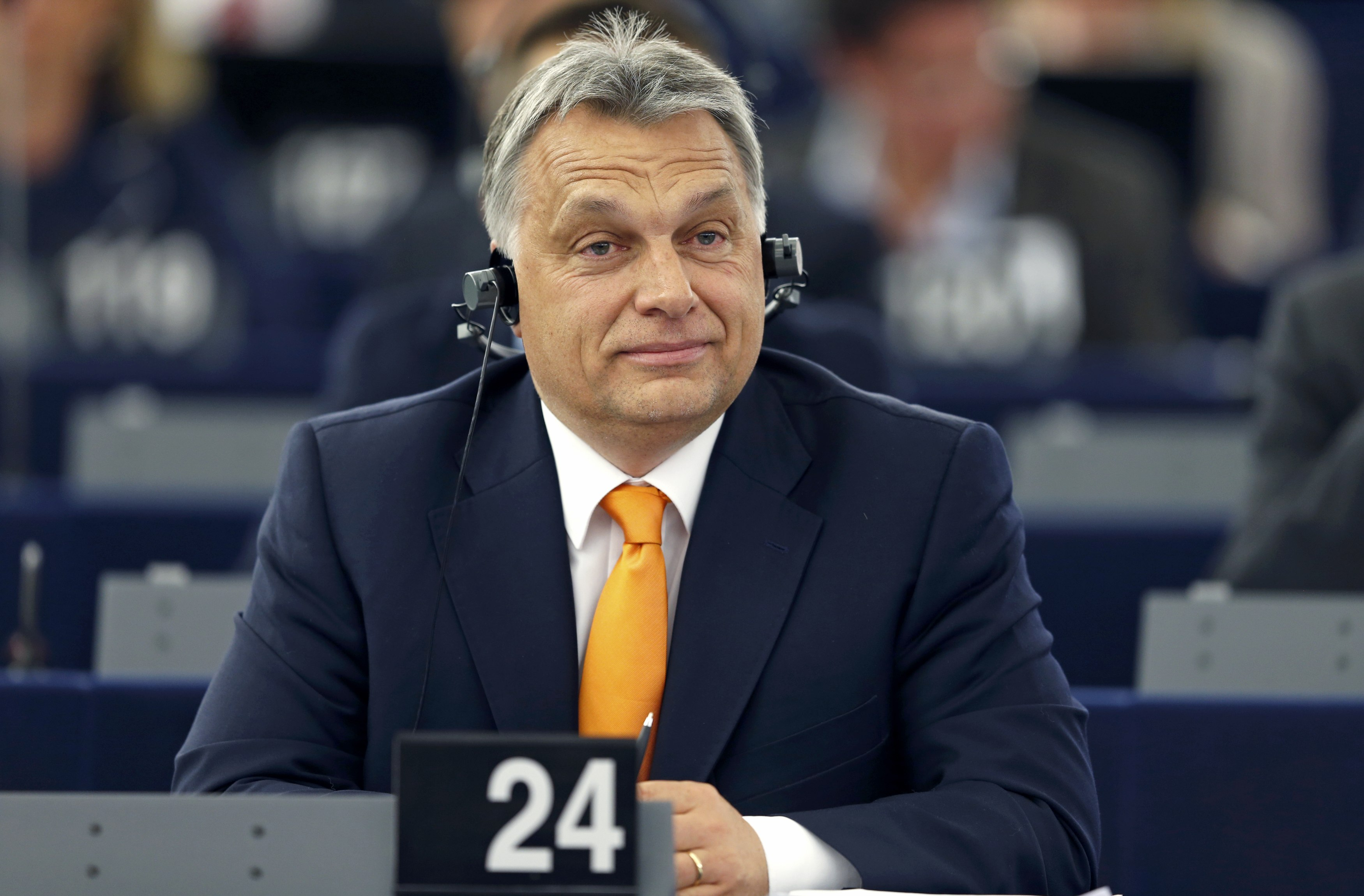 Hungarian Prime Minister Viktor Orban attends a debate on the situation in Hungary at the European Parliament in Strasbourg, France, May 19, 2015. REUTERS/Vincent Kessler