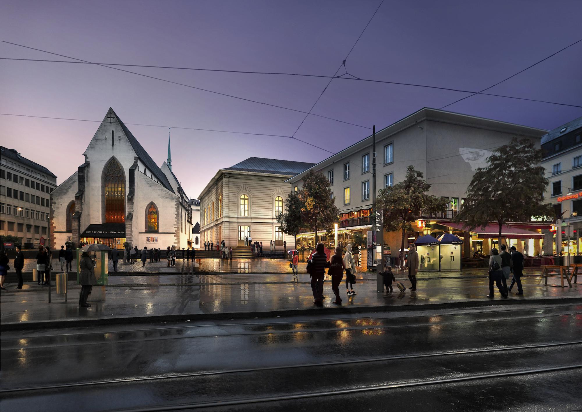 Der geplante Erweiterungsbau des Stadtcasinos Basel (im Bildhintergrund neben der Barfüsserkirche).