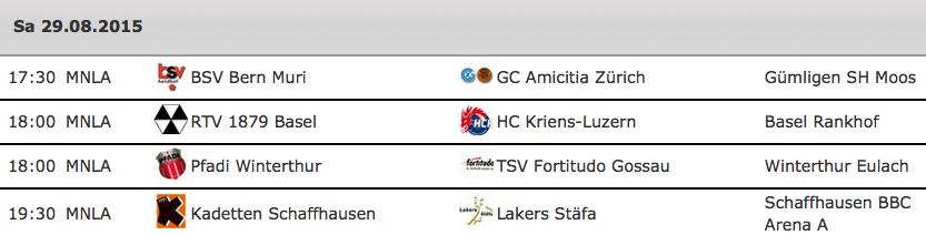 Die erste Runde der Nationalliga A 2015/16