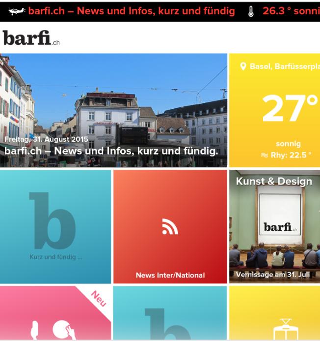 So sieht die App von «barfi.ch» aus. Gegliedert wird das Portal in 40 Kacheln.