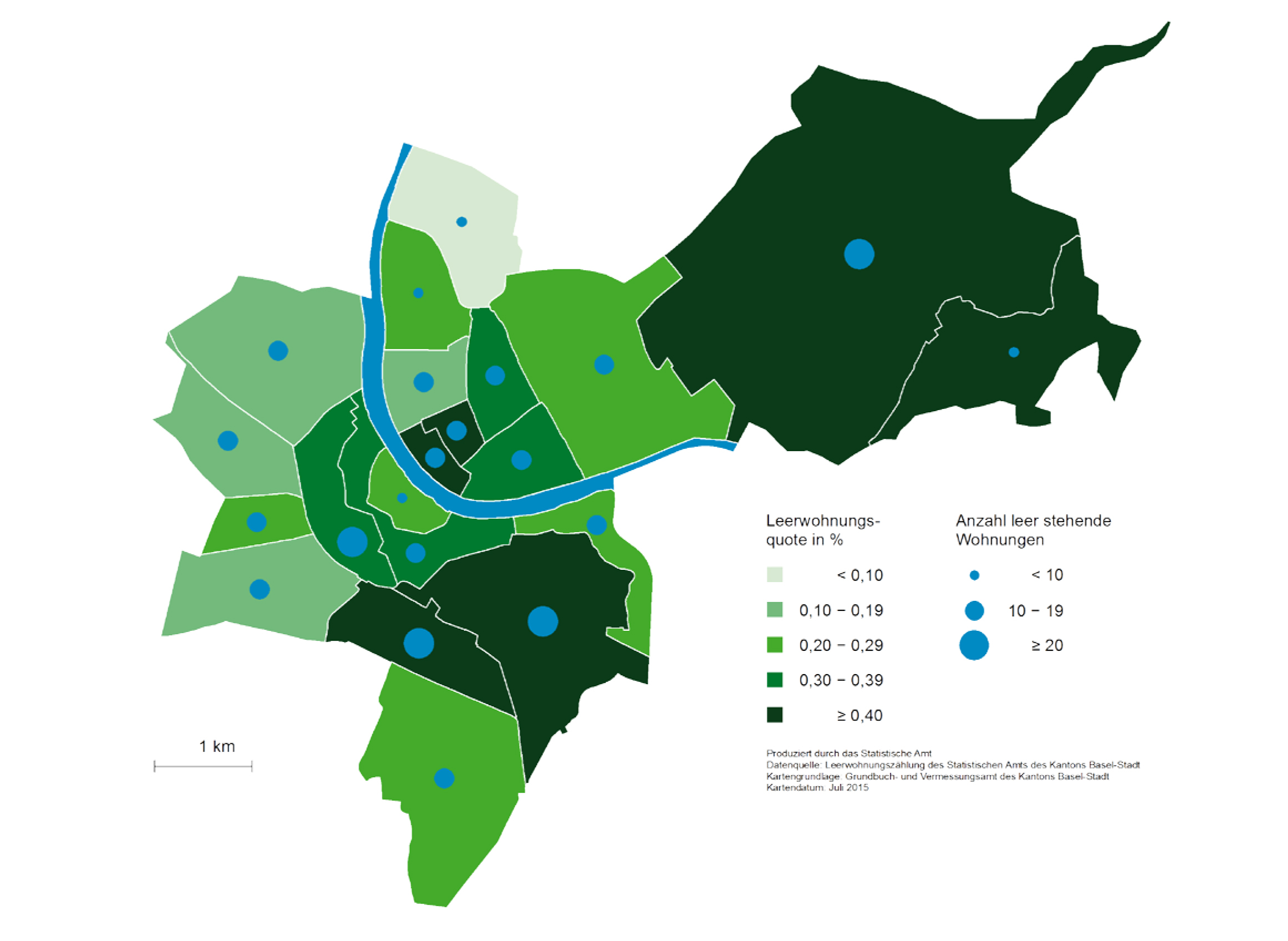 In Kleinbasel lag die Leerstandsquote per 1. Juni 2015 bei 0,3 Prozent, in Riehen und Bettingen bei 0,6.