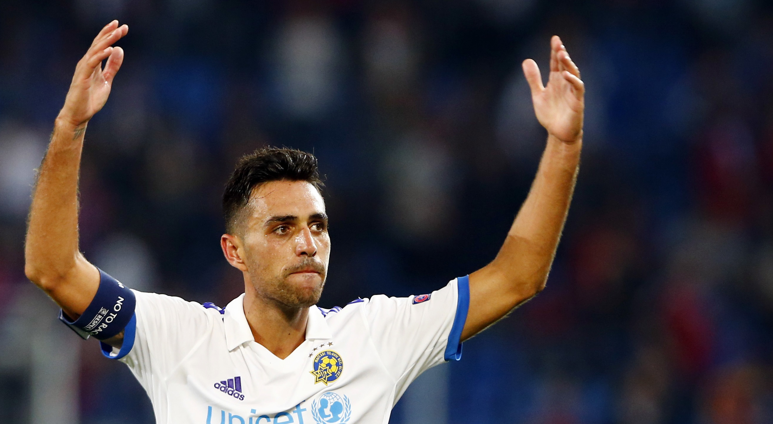 Maccabi Tel Aviv's Eran Zahavi reacts after their Champions League play-off first leg soccer match against FC Basel at the St. Jakob Park stadium in Basel August 19, 2015. REUTERS/Arnd Wiegmann