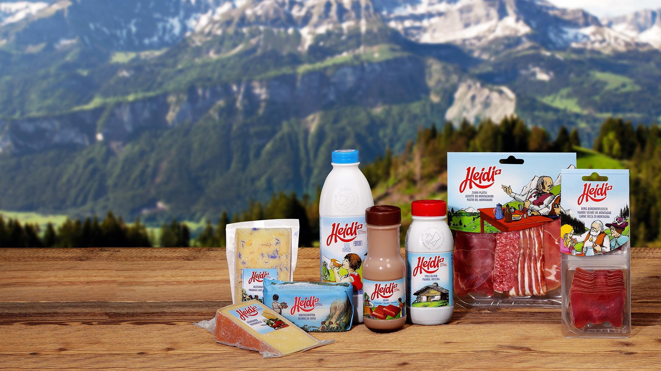 Migros bietet Heidi zum Essen und Trinken.