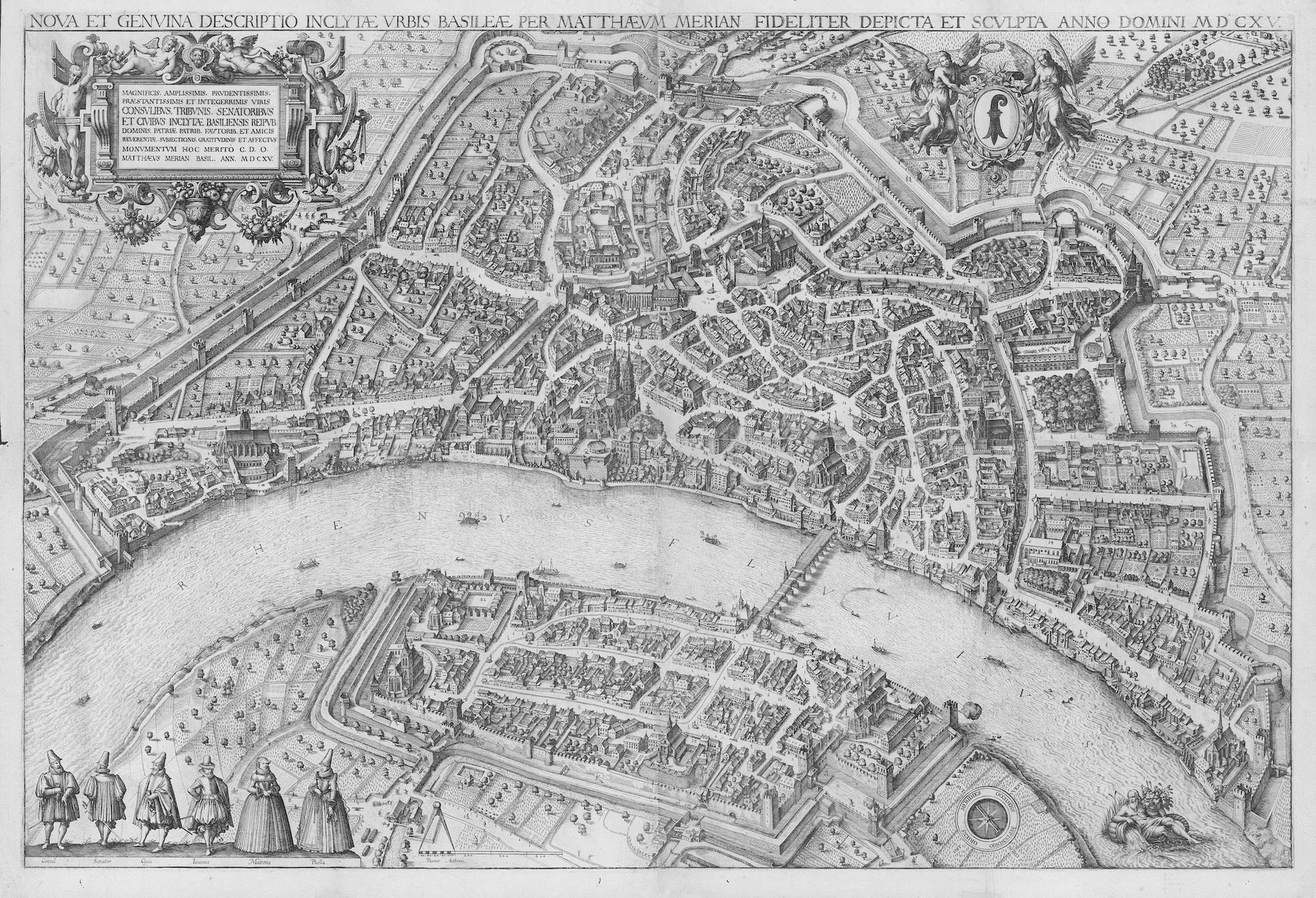 Die bekannte Vogelschau der Stadt Basel von Matthäus Merian d. Ä. bildet den Rahmen des Games.