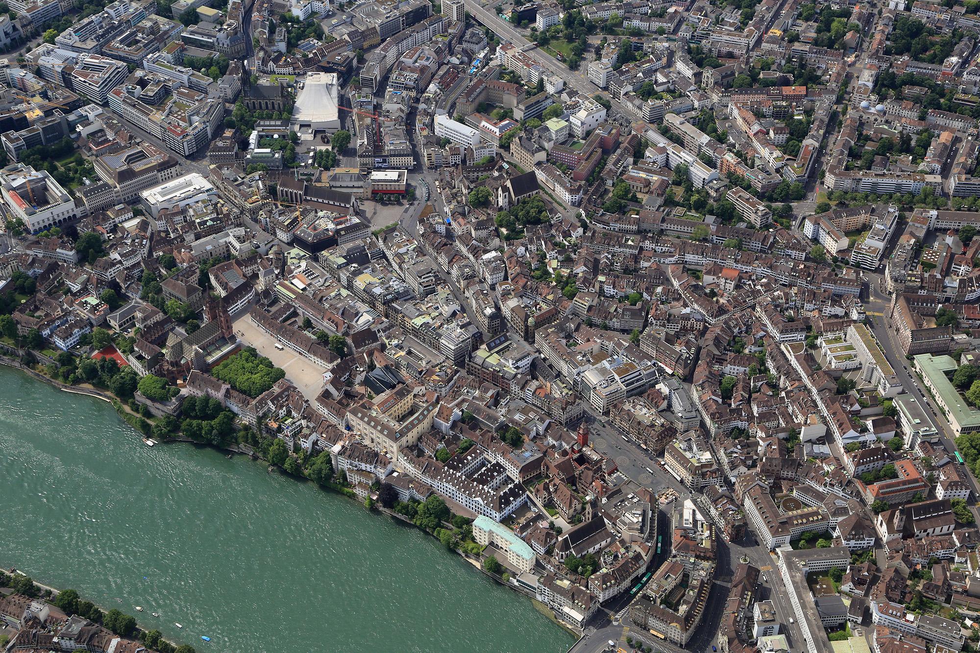 Der Vogelschaublick auf das Basel von heute