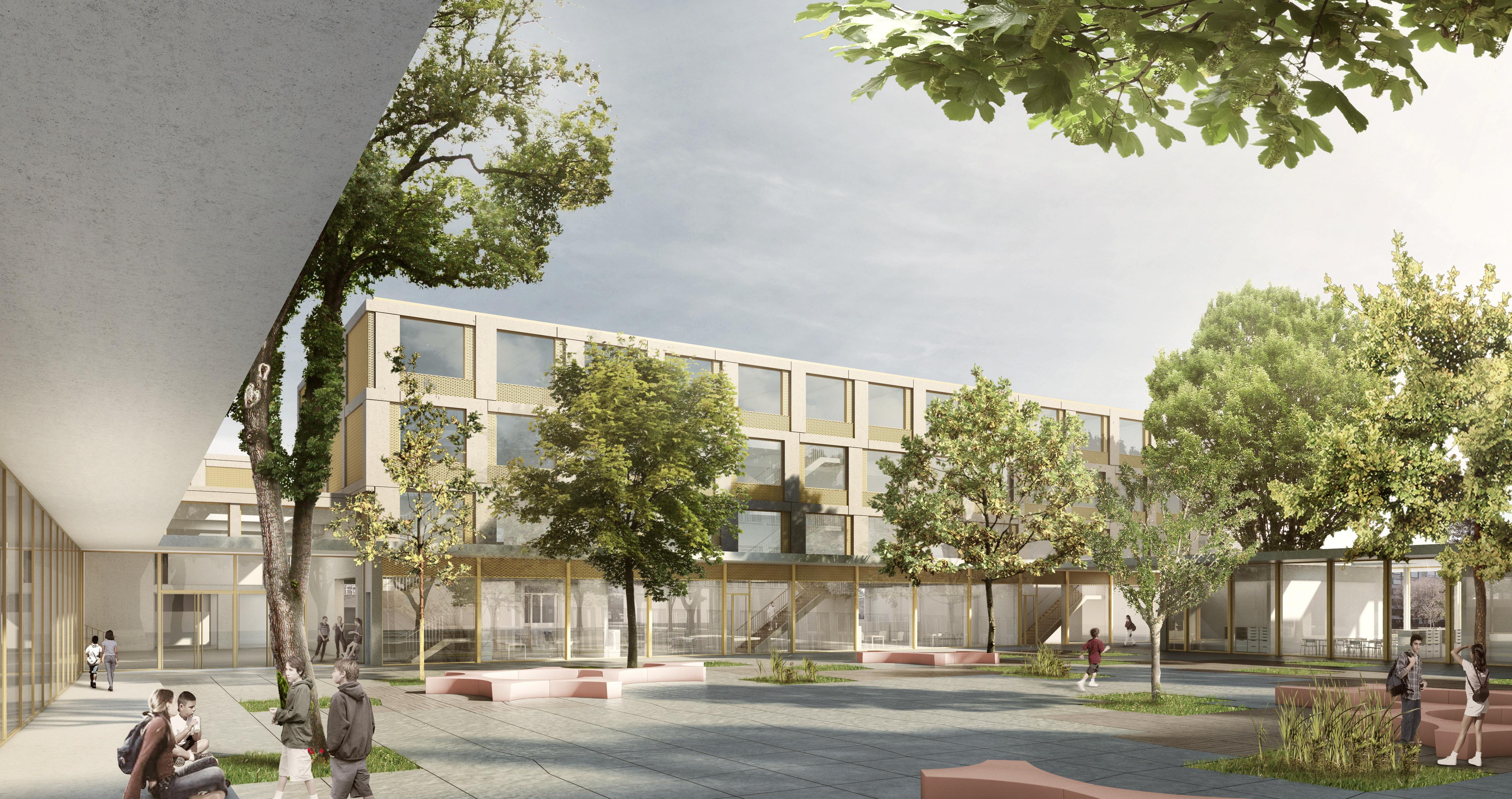 Platz für 27 Klassen: Das neue Sandgruben-Schulhaus beim Badischen Bahnhof.