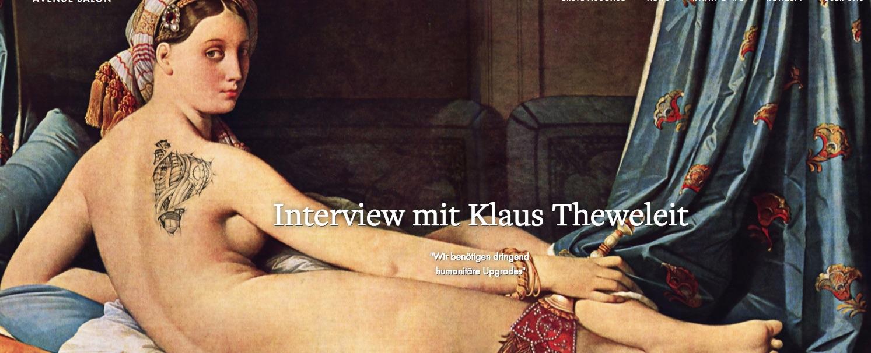 Unter anderem drin: Ein hochspannendes Interview mit Kulturtheoretiker Klaus Theweleit (Screenshot).
