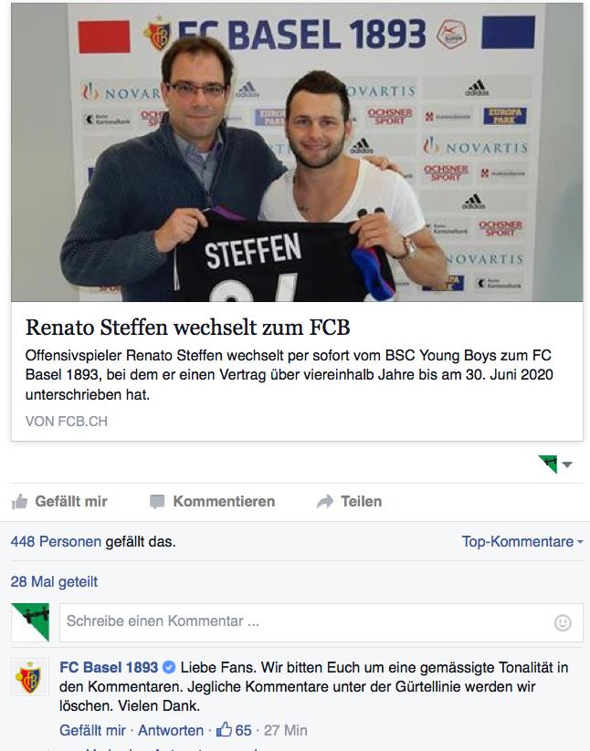 Mit einem Klick auf das Bild geht es zum Facebook-Account des FC Basel und den Kommentaren. Das Foto im Post zeigt FCB-Sportdirektor Georg Heitz mit Renato Steffen.