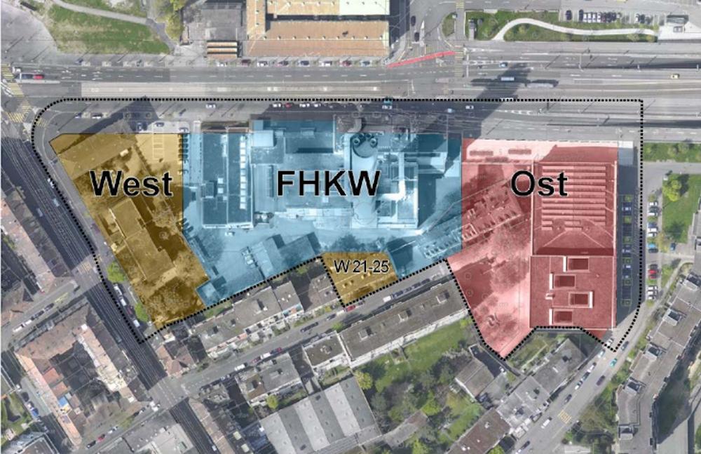 Die nachstehende Darstellung aus dem Ratschlag des Grossen Rates orientiert sich an den verschiedenen Teilbereichendes Areals, die auch auf dem Bebauungsplan farbig ausgewiesen sind. Auf dem Teilbereich-Ost befinden sich das Primarschulhaus Volta («Voltaschulhaus»), das Öltanklager der Industriellen Werke Basel IWB («IWB») und die Voltahalle. Im Mittelteil FHKW findet sich das Fernheizkraftwerk der IWB. Im Teilbereich-West bestehtbereits heute eine Wohnbebauung mit Solitärgebäuden. Im Süden des Areals befindet sich der kleinste Perimeter W 21-25, der die WohnhäuserWasserstrasse 21, 23 und 25 umfasst.