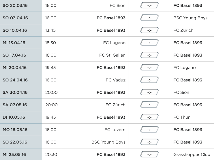 Der restliche Spielplan des FC Basel in der Übersicht.