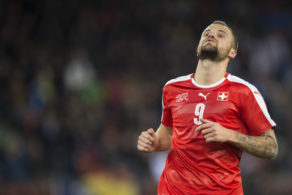 Swiss forward Haris Seferovic during the friendly soccer match between Switzerland and Bosnia Herzegovina at the Letzigrund Stadium in Zurich, Switzerland, Tuesday, March 29, 2016. (KEYSTONE/Ennio Leanza)