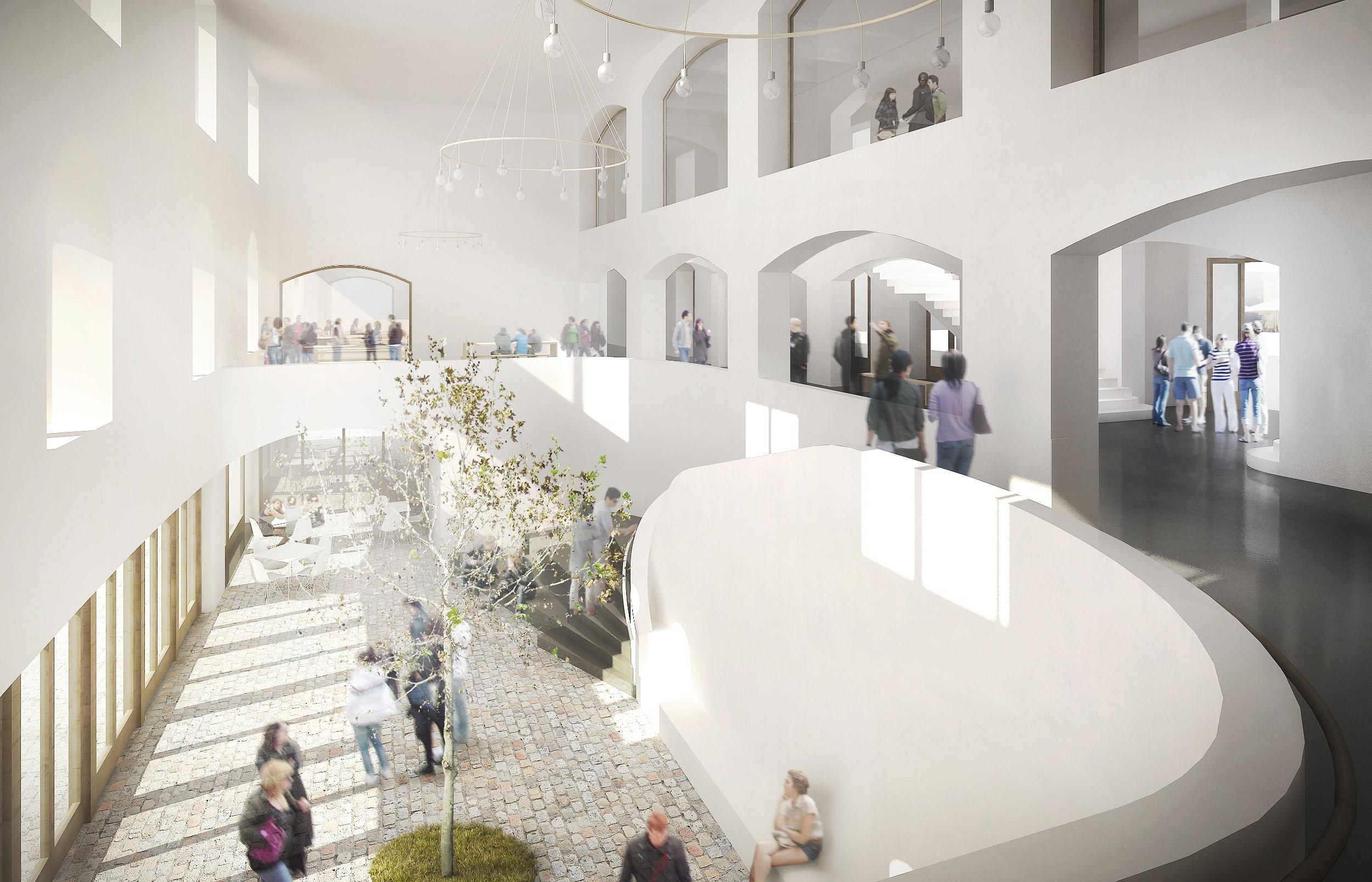 Der Kasernen-Hauptbau als öffentlicher Raum: Visualisierung des Durchgangsfoyers im Umbauprojekt von Focketyn del Rio.