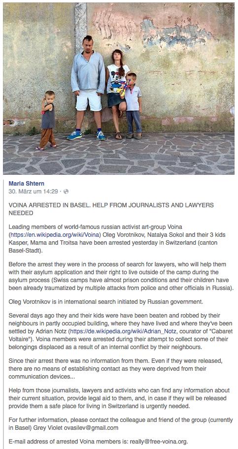 Dieser Aufruf kursierte auf Facebook und versetzte die linke Basler Kunst- und Slawistenszene in Aufregung.