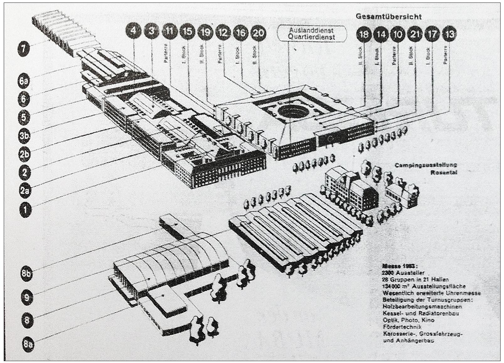 Die 21 Messehallen der Schweizer Mustermesse im Jahr 1963.