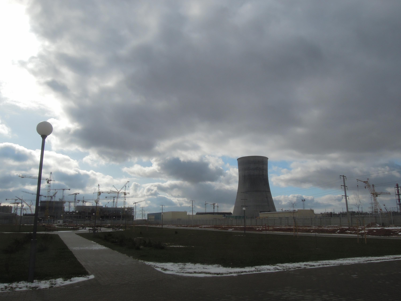 Die Baustelle des Atomkraftwerkes in Ostrowez, Belarus. Aufgenommen im März 2016.