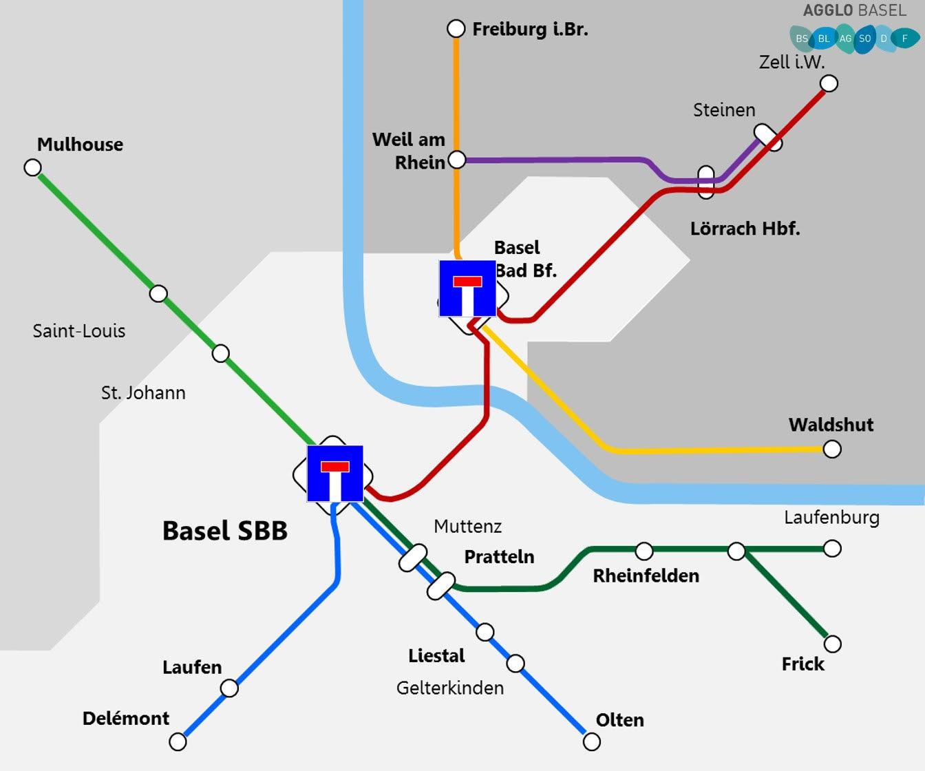 Sackgasse Basler Bahnhöfe: So verläuft das Bahnnetz im Moment durch Basel.