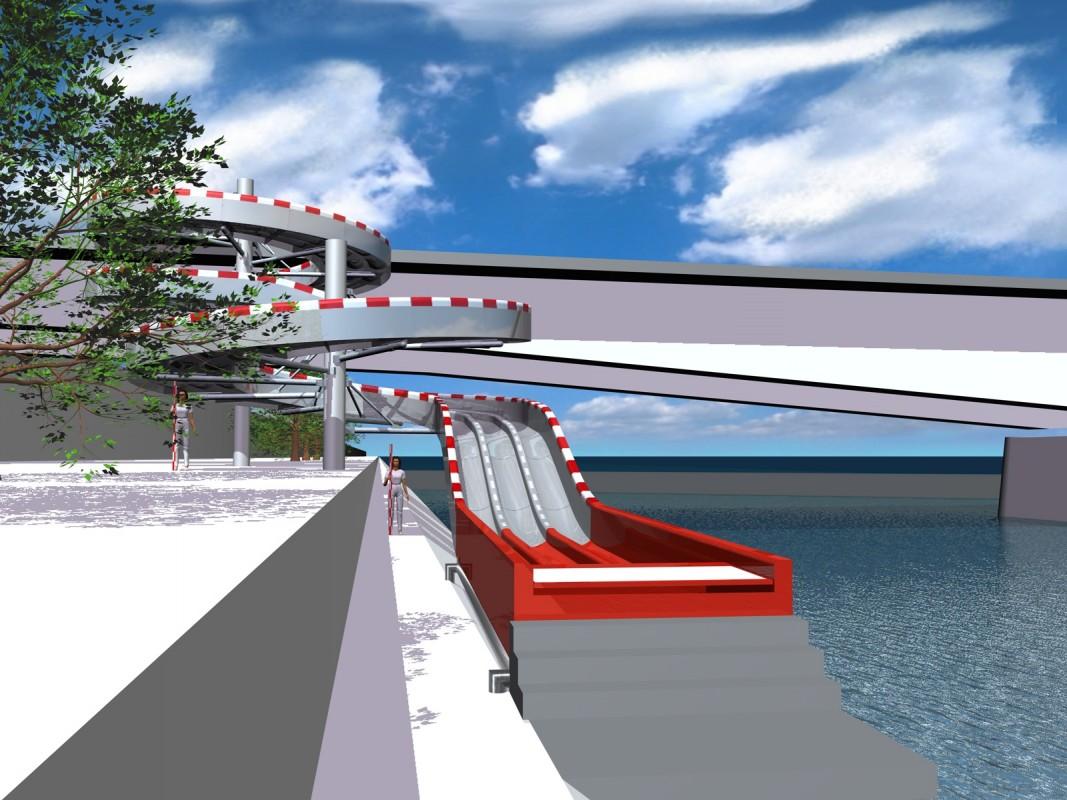 So könnte die Rutschbahn in den Rhein dereinst aussehen.