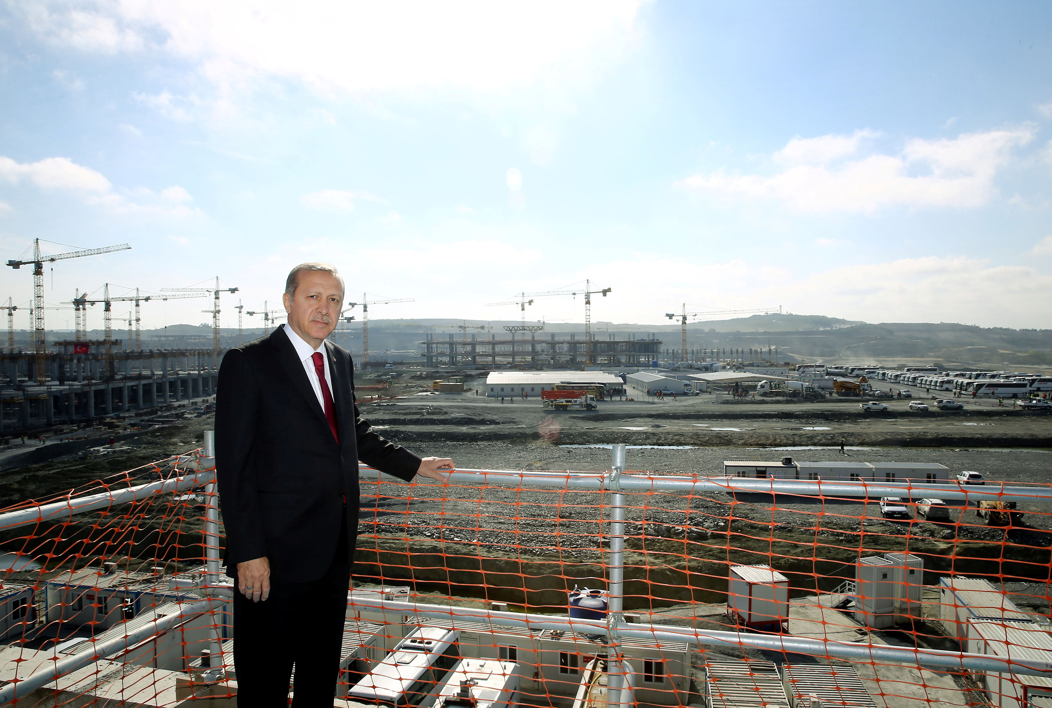 Turkish President Tayyip Erdogan is pictured during his visit to the construction site of the city's third airport in Istanbul, Turkey May 9, 2016.